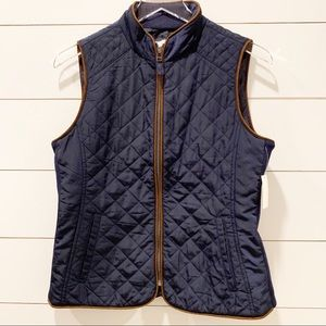 TALBOTS Navy Quilted Vest